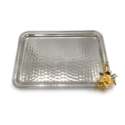 NCSA102 - Silver Tone Tray with Floral Accent