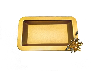 NCSA103 - Gold Tone Tray with Floral Accent