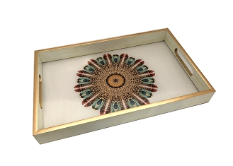 NCSA15 - Beautiful Peacock Graphic Glass Top Wooden Frame Serving Tray