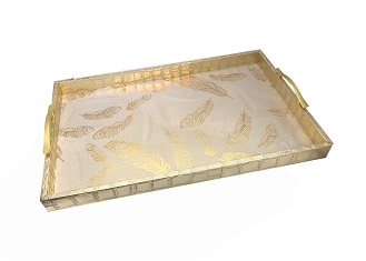 NCSA16 - Large Beautiful Peacock Feather Graphic Wooden Frame Serving Tray