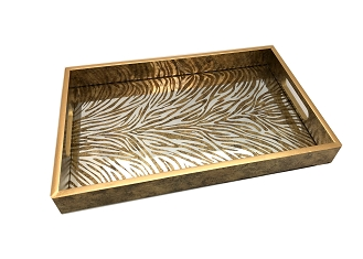 NCSA17 - Gold Tone Zebra Graphic Glass Top Wooden Frame Serving Tray