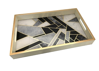 NCSA18 - Modern Art Graphic Glass Top Wooden Frame Serving Tray