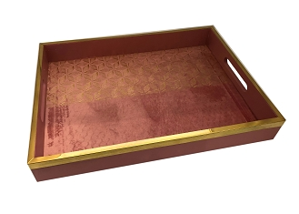 NCSA19 - Medium Gold Tone Floral Art Graphic Wooden Frame Serving Tray