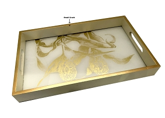 NCSA1 - Gold Tone Floral, Glass Topped Wooden Frame Serving Tray