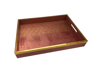 NCSA20 - Small Gold Tone Floral Art Graphic Wooden Frame Serving Tray