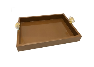 NCSA21 - Brown Wooden Frame Serving Tray with Crystal Handles Accent