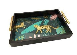 NCSA22 - Tigers in the Forest Wooden Frame Serving Tray