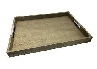 NCSA23 - Faux Snake Skin Wooden Frame Serving Tray