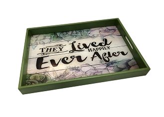 NCSA25 - Lived Happy Ever After Country Wooden Frame Serving Tray