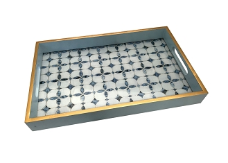 NCSA26 - Blue Clover Graphic Glass Topped Wooden Frame Serving Tray