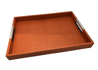 NCSA27 - Orange Red Faux Snake Skin Wooden Frame Serving Tray