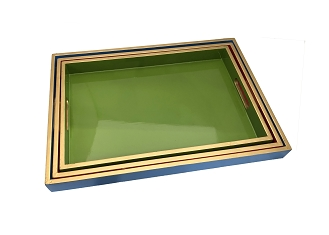 NCSA28 - Set of 3 - Wooden Frame Serving Tray