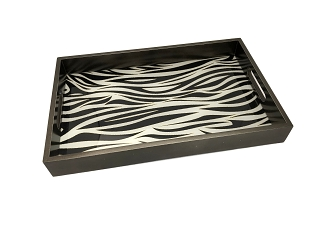 NCSA29 - Black and White Zebra Graphic Glass Topped Wooden Frame Serving Tray