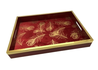 NCSA2 - Large Gold Tone Floral Motif on Red Fabric, Wooden Frame Serving Tray