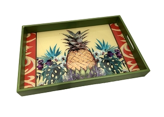 NCSA30- Tropical Pineapple Graphic Glass Topped Wooden Frame Serving Tray