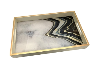 NCSA31- Modern Art Graphic Glass Topped Wooden Frame Serving Tray