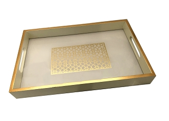 NCSA32- Rectangle Gold Tone Graphic Glass Topped Wooden Frame Serving Tray