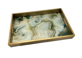 NCSA33- Green-Gold Abstract Graphic Glass Topped Wooden Frame Serving Tray