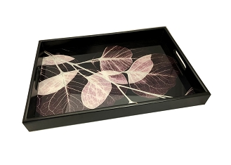 NCSA36- Leaves Graphic Glass Topped Wooden Frame Serving Tray
