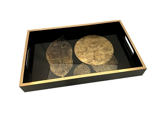 NCSA37- Gold Tone Leaves Glass Topped Wooden Frame Serving Tray