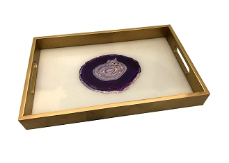 NCSA38- Purple Agate Print Glass Topped Wooden Frame Serving Tray