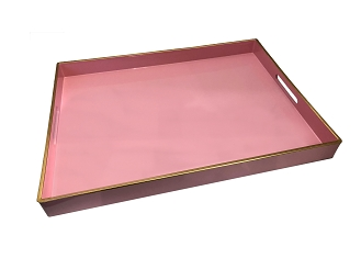 NCSA39- Pink Wooden Frame Serving Tray