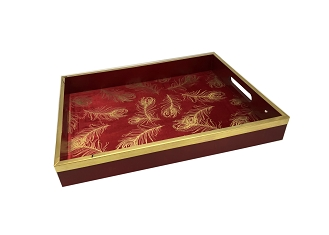 NCSA3 - Medium Gold Tone Floral Motif on Red Fabric, Wooden Frame Serving Tray