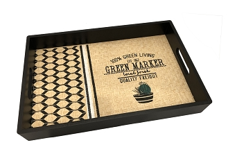 NCSA41 - Green Living Graphic Wicker Wooden Frame Serving Tray