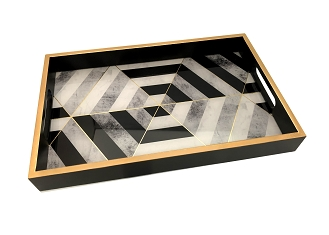 NCSA42 - BW Modern Graphic Glass Topped Wooden Frame Serving Tray