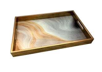 NCSA43 - Orange-Gray Abstract Graphic Glass Topped Wooden Frame Serving Tray