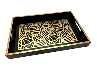 NCSA44 - Gold Tone Abstract Graphic Glass Topped Wooden Frame Serving Tray