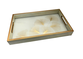 NCSA45 - Gold Tone Leaves Graphic Glass Topped Wooden Frame Serving Tray