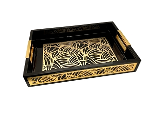 NCSA46 - Gold Tone Abstract Graphic Glass Topped Wooden Frame Serving Tray