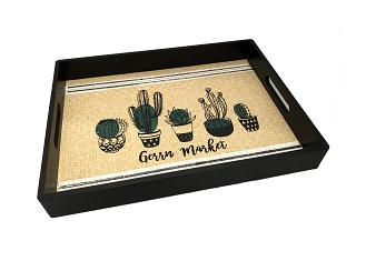 NCSA47 - Green Market Graphic Wicker Wooden Frame Serving Tray