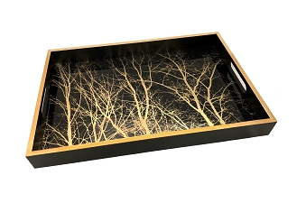 NCSA48 - Gold Tone Trees Graphic Glass Topped Wooden Frame Serving Tray