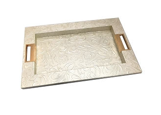 NCSA49- Gold Tone Floral Embossed Faux Leather Wooden Frame Serving Tray