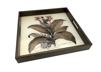 NCSA52- Floral Painting Glass Topped Wooden Frame Serving Tray