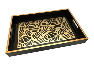 NCSA53- Gold Tone Abstract Graphic Glass Topped Wooden Frame Serving Tray