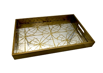 NCSA5 - Large Gold Graphic Art Deco, Glass Topped Wooden Frame Serving Tray
