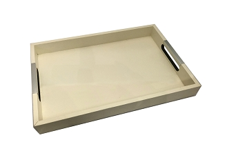 NCSA6 - Beige Color Wooden Frame Serving Tray
