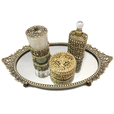 NCSET1 - Antique Gold - Bronze Vanity Set of 4