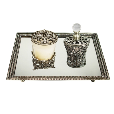NCSET3 - Pewter Silver - Antique Silver Tone Vanity Set