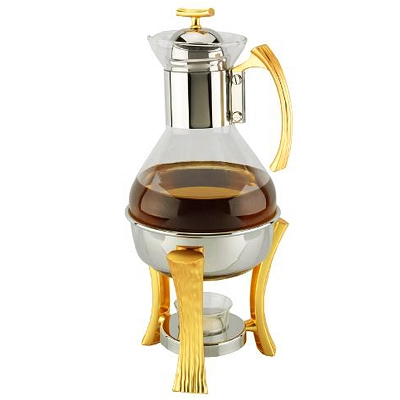 NG215 - Coffee and Tea Warmer Set in Gorgeous Two Tone Gold Design Stainless Steel