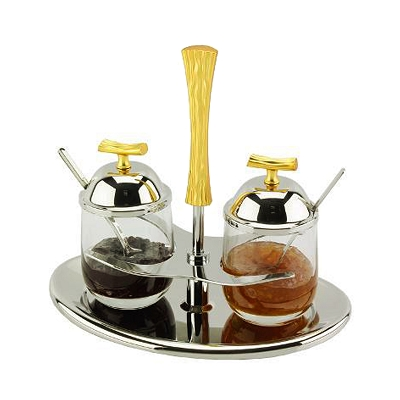 NG218 - Double Jam Set in Gorgeous Two Tone Gold Design and comes with Lids and Spoon