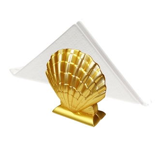 NG228 - Two Tone Gold Shell Design Napkin Holder