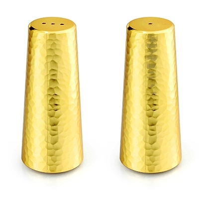 NC610G - Salt and Pepper Shaker Set with Two Tone Hammered Design