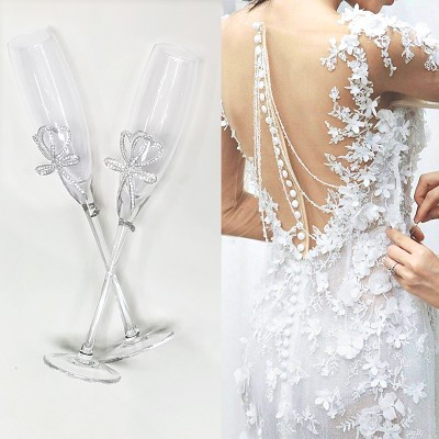 Crystal Bow Champagne Glasses