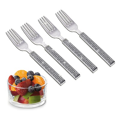 NC620 - Set of 4 - Stainless Steel Fruit Fork with Silver Glitter Design