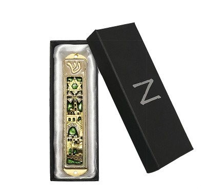 NCMZ8 - Green Mezuzah Sacred City Design with Genuine Crystals